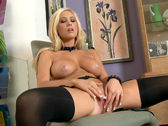 Hardcore blonde Tasha Reign is posing naked