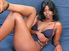 Ebony Mocha Jay is playing with her cute shaved hole