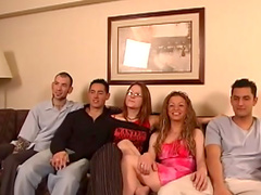 Hardcore orgy with slender babes and ncie dudes