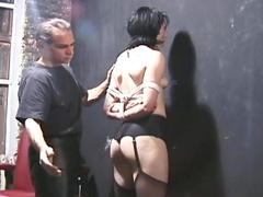 Nipple torture and ball gag play