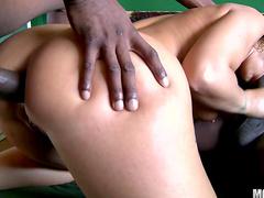 Brunette Syren Demer being fucked by gang of dicks