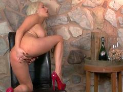 Blonde Spencer Scott takes off her red dress