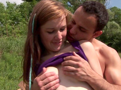 Beauty Anouk fuck in her puss on the fresh air