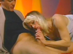 Sweet blonde is getting fucked in her wide mouth