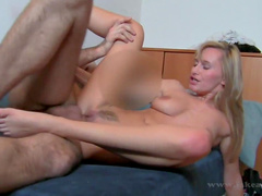 Blonde blows cock and jumps on it till getting creampied