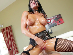 Dark-haired pornstar is being fucked so hard