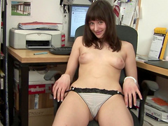 Amateur brunette is touching her puss