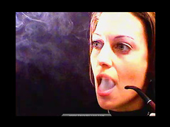 Milf brunette babe smoking on camera