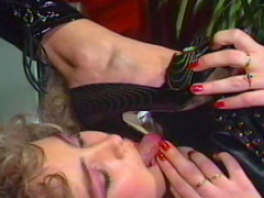 Nasty curly blonde is licking feet of her slutty sister