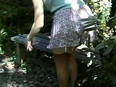Sexy outdoor seduction from nice curly blonde