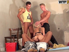 Pigtailed blonde is sucking for cash