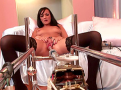 Stunning babe Indira fucks with a nice dildo