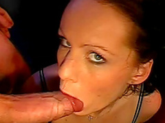 Tanja is swallowing juicy sperm from plate