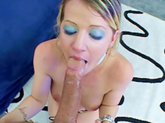 Beauty blonde being facefucked on the cam