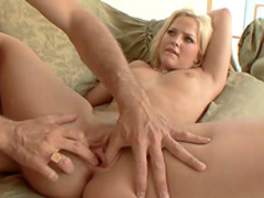 Bleached babe being fucked in her puss