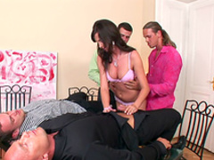 Slender brunette Karla gets a hot facial in the bukkake