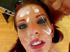 Slick beauty fuck with two guys in anal