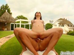 Beautiful babe is riding on the long dick
