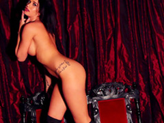 Sweet dark-haired beauty poses totally naked