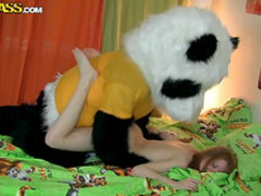 Pretty cutie is fucking with a hardcore panda