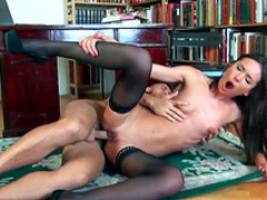 Brunette Nataly Gold being fucked in her face