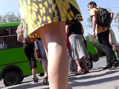 Spicy babe gets a hot public upskirt
