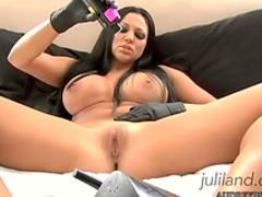 Dark-haired pornstar and her lovely dildo
