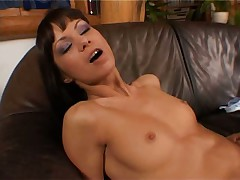 Angelina Crow and Jordan Green play with huge dildo