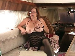 BBW granny fucks ass with dildo while smoking
