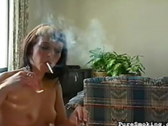 Spicy babe is smoking a nice cigarette