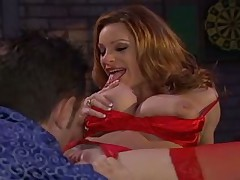 Redhaired fucks with barkeeper