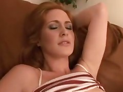 Dirty redhead gets jizz covered
