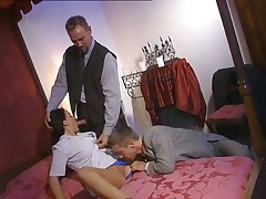 Hot double penetration with three guys