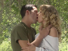 Outdoor sex with a slender curly blonde