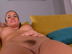 Nicole shows her accurate trimmed puss