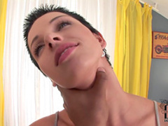 Brunette Klaudia gives a hot interracial blowjob