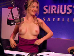 Blonde pornstars have party in radio station