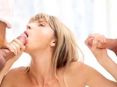 Innocent blonde was fucked by two dicks