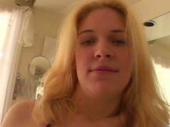 Cute blonde is sucking this big long prick