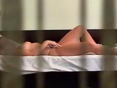 Redhead girlfriend masturbates in a the voyeur scene