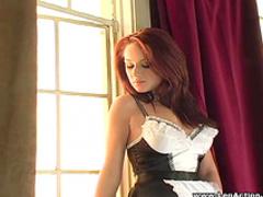 Slutty redhead maid is poking her anal hole