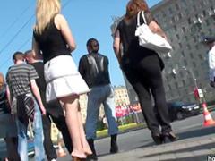 Cutie with long legs in outdoor voyeur video