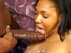 Ebony is riding on the big hard dick