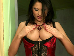 Brunette on high heels Alison Star demonstrated her big tits
