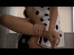 Girl Does Blowjob and Footjob in the Bathroom