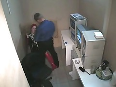 Security Guy fucks on security cam