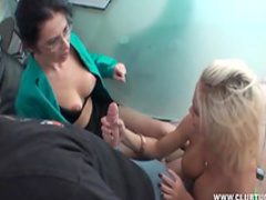Slender babes are masturbating their boss's cock