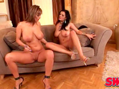 Jasmine Black and Sheila Grant are playing with nipples