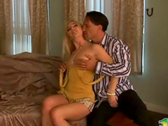 Slutty blonde is giving a stunning blowjob