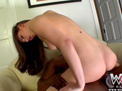 Brunette is giving a hardcore sloppy blowjob